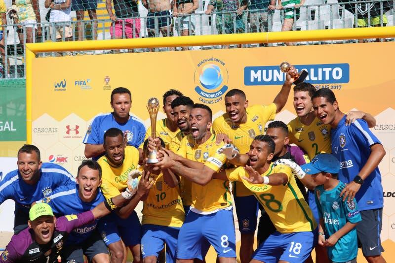 De viering van Brazilië - Team 2017 Carcavelos Portugal royalty-vrije stock foto