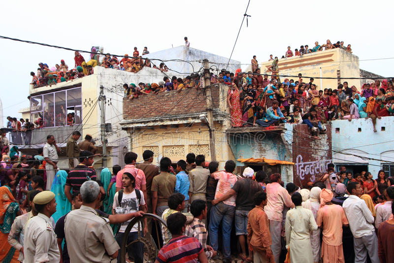 De Viering van Lathmarholi in Nandgaon stock fotografie