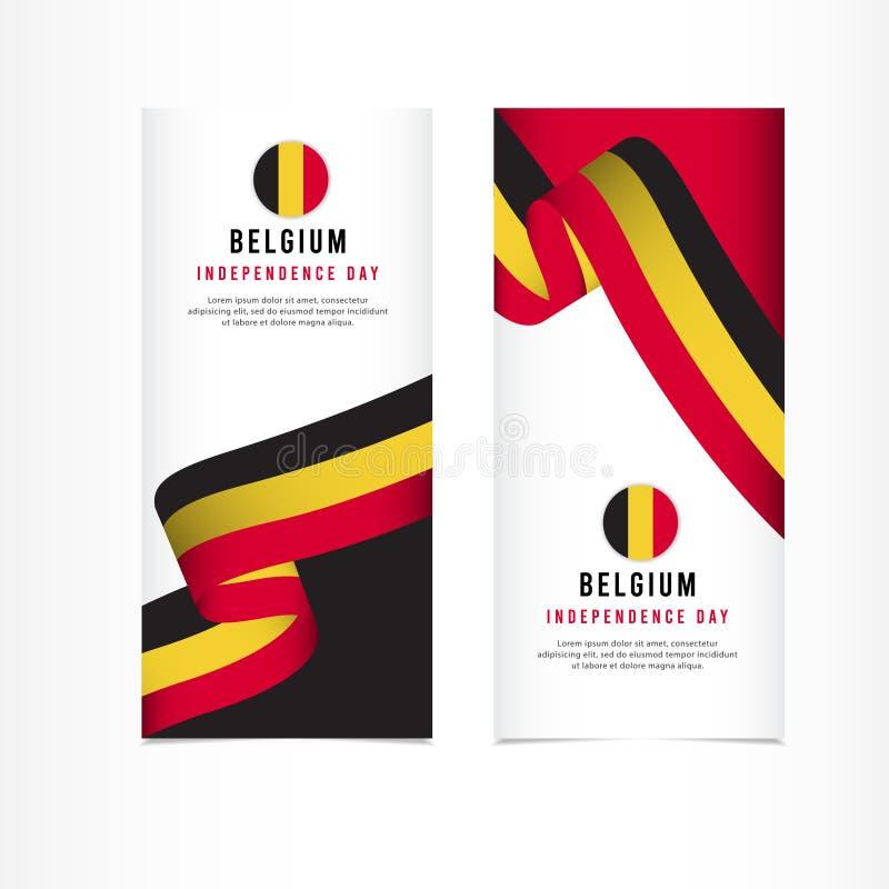 De Viering van de de Onafhankelijkheidsdag van België, Vector het Malplaatjeillustratie van het banner vastgestelde Ontwerp royalty-vrije illustratie