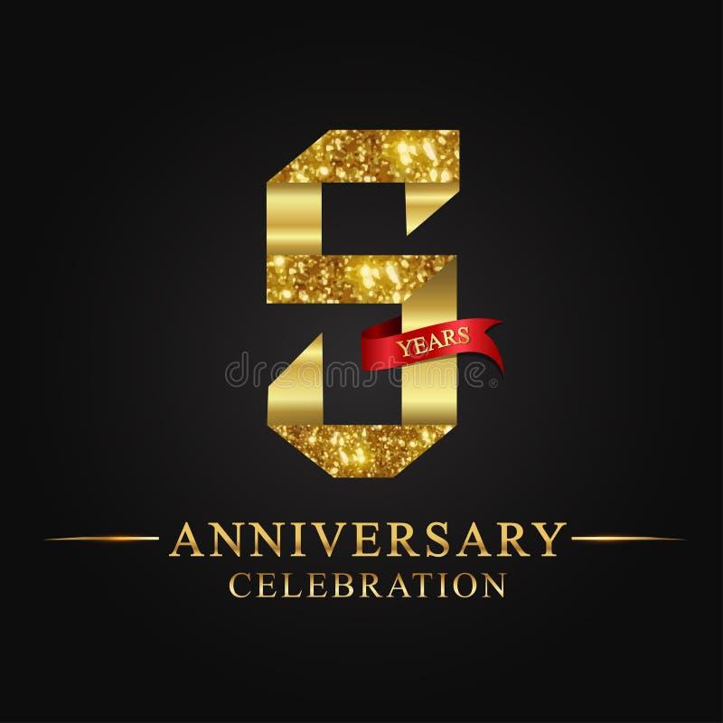 de 5de viering van verjaardagsjaren logotype Het gouden aantal van het embleemlint en rood lint op zwarte achtergrond royalty-vrije illustratie