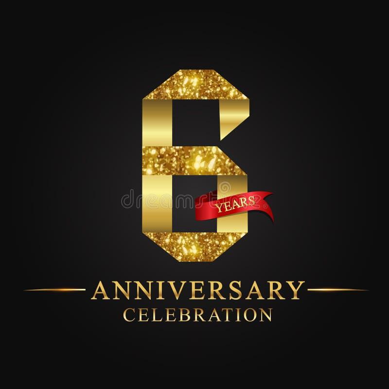 de 6de viering van verjaardagsjaren logotype Het gouden aantal van het embleemlint en rood lint op zwarte achtergrond stock illustratie