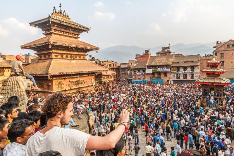 De vieringen van Bisketjatra in Bhaktapur