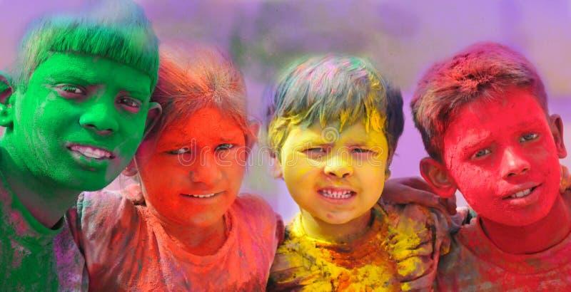 De vieringen van Holi in India. royalty-vrije stock foto's