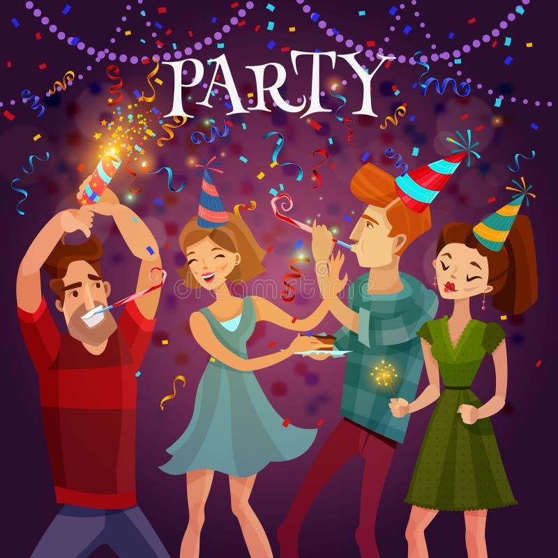 De Vierings Feestelijke van de verjaardagspartij Affiche Als achtergrond royalty-vrije illustratie