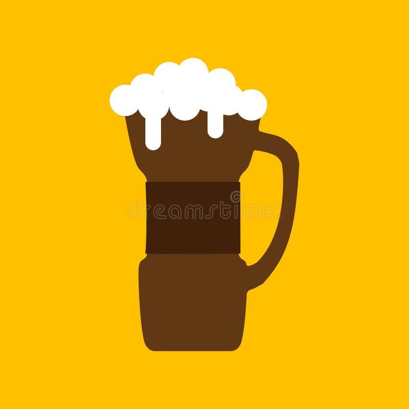 De vierings geel objecten van de bier houten mok vloeibaar vectorpictogram De barbar van de alcoholdrank Bel en schuimbrouwerijam stock illustratie