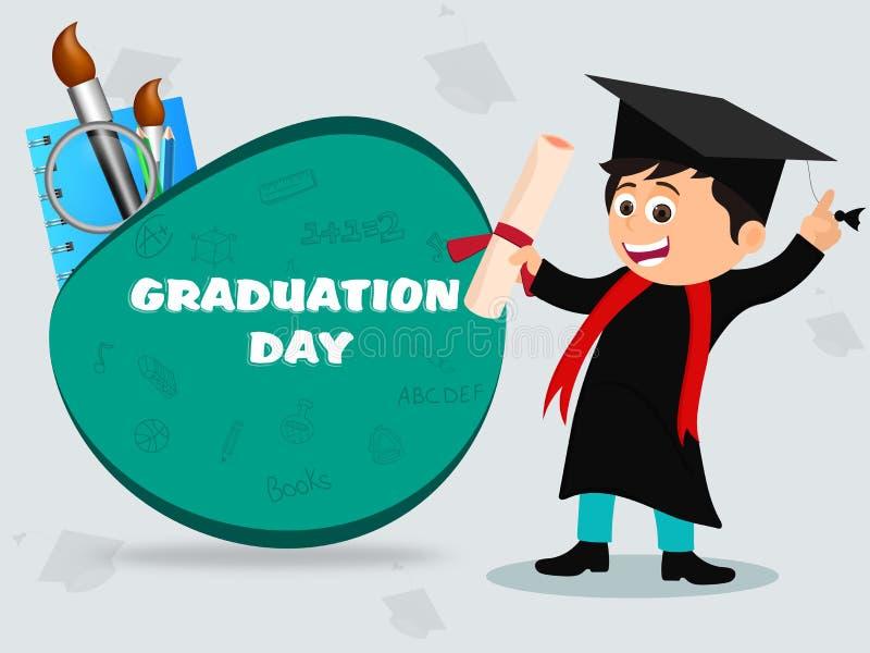 De vieringsconcept van de graduatiedag, illustratie van gelukkig jongensce vector illustratie