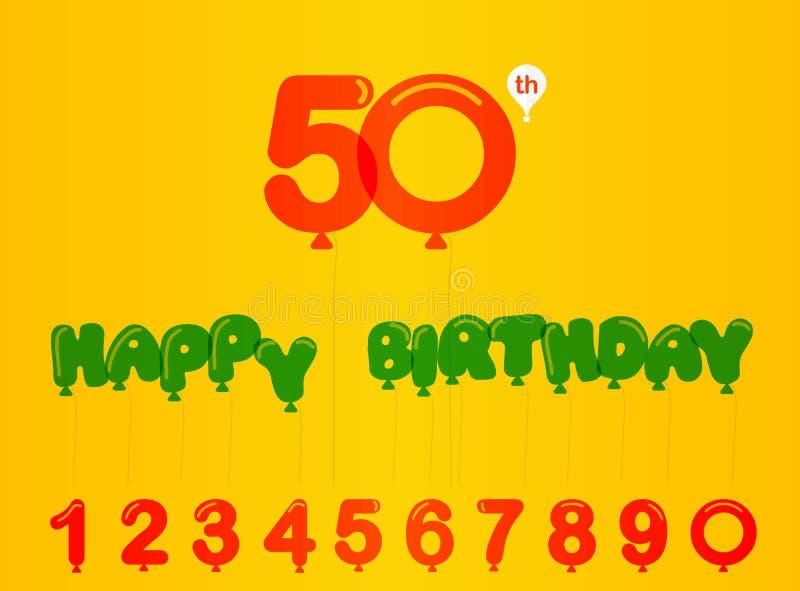 de vieringskaart van de 50 jaarverjaardag, 50ste verjaardag met balloneffect en aantallen royalty-vrije illustratie
