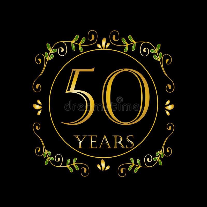 de vieringskaart van de 50 jaarverjaardag vector illustratie