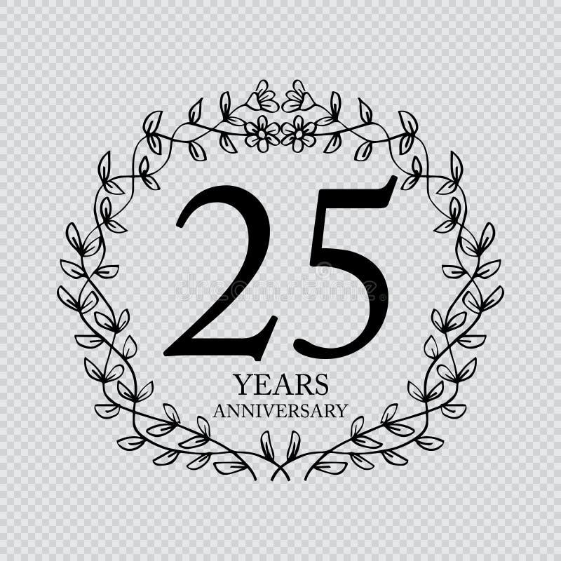 de vieringskaart van de 25 jaarverjaardag royalty-vrije illustratie