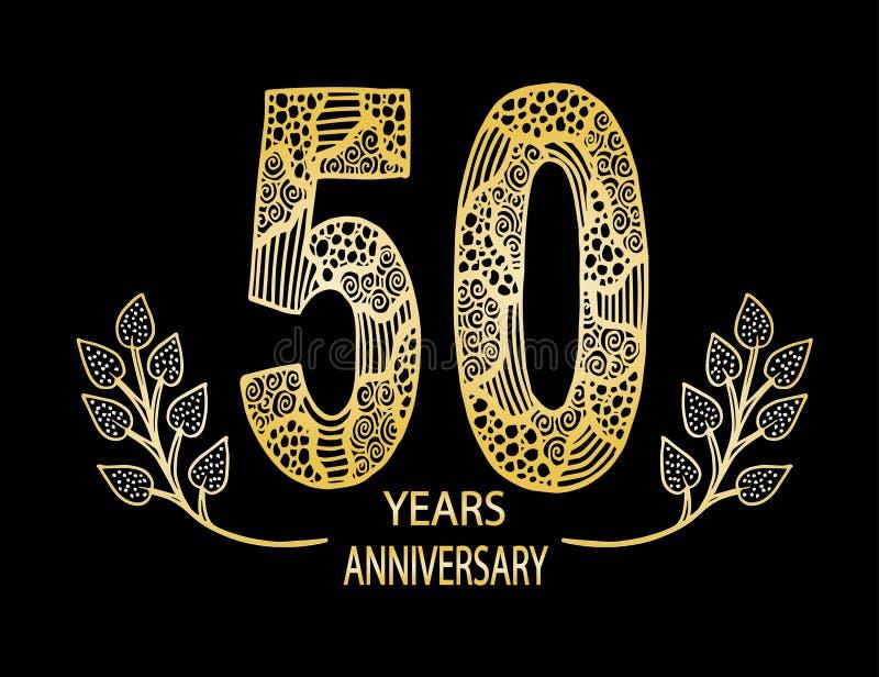 de vieringskaart van de 50 jaarverjaardag - Vector vector illustratie