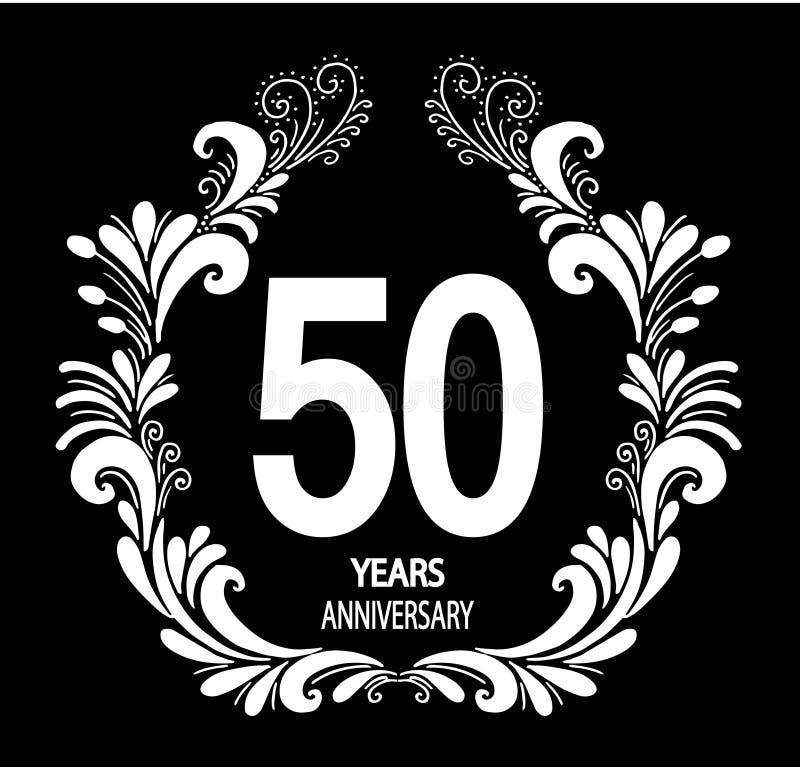 de vieringskaart van de 50 jaarverjaardag - Vector stock illustratie