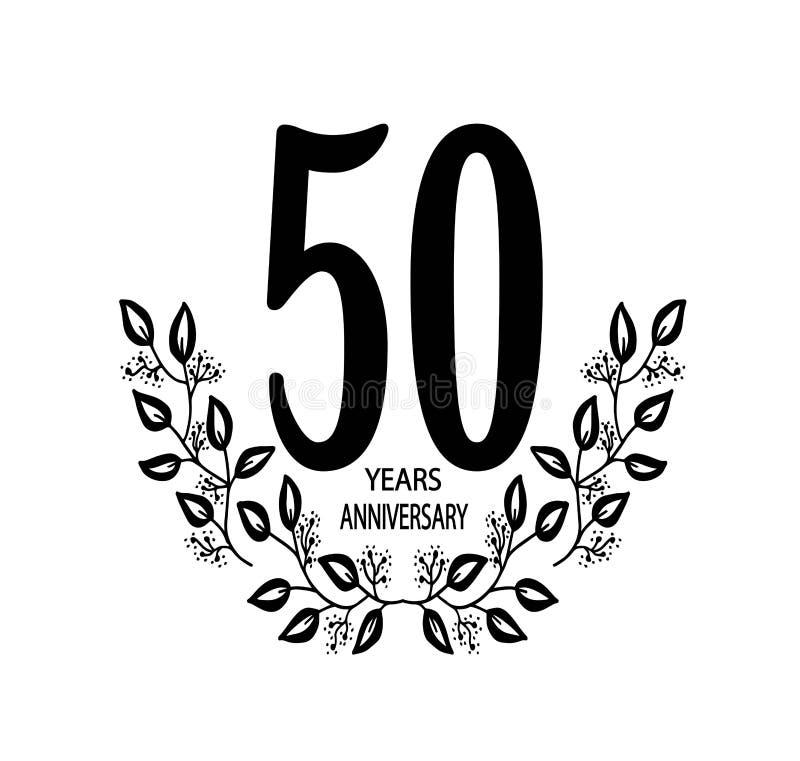 de vieringskaart van de 50 jaarverjaardag - Vectorillustratie stock illustratie