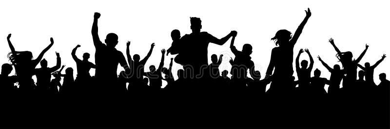 De vieringsmensen silhouetteren De partijpubliek van het menigteoverleg De ventilatordoel van de voetbaltoejuiching vector illustratie