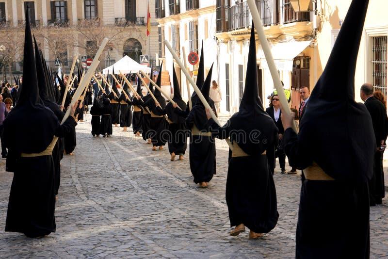 De vieringsparade van Pasen in Jerez, Spanje stock afbeeldingen