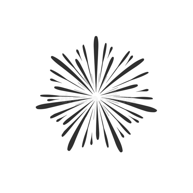 De vieringspictogram van de vuurwerkvertoning in zwart vlak overzichtsontwerp stock illustratie