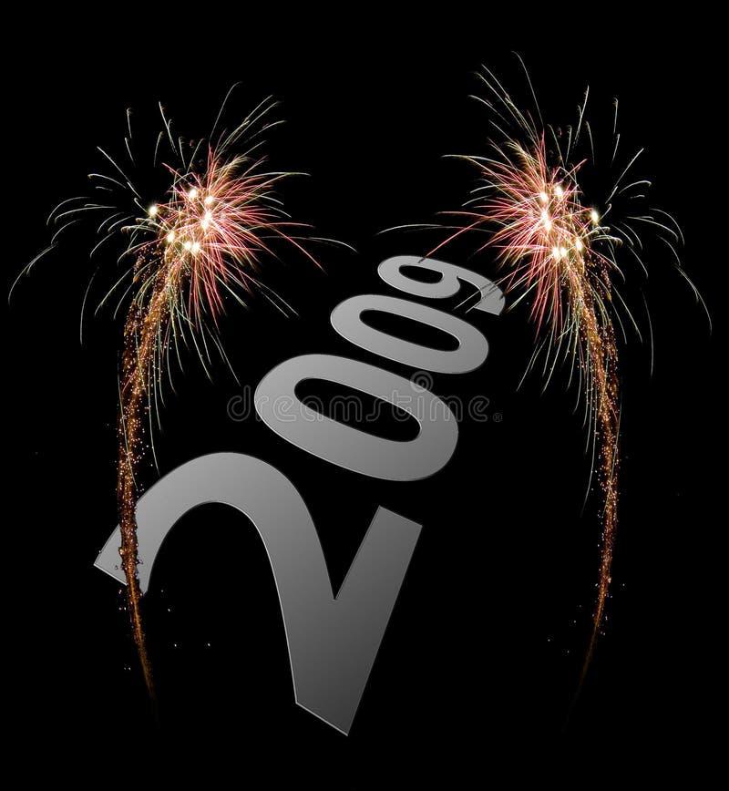 de vieringsvuurwerk van 2009 stock foto