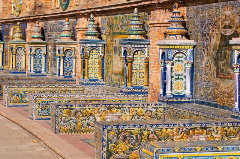 De vierkante banken van Sevilla Spanje royalty-vrije stock afbeeldingen