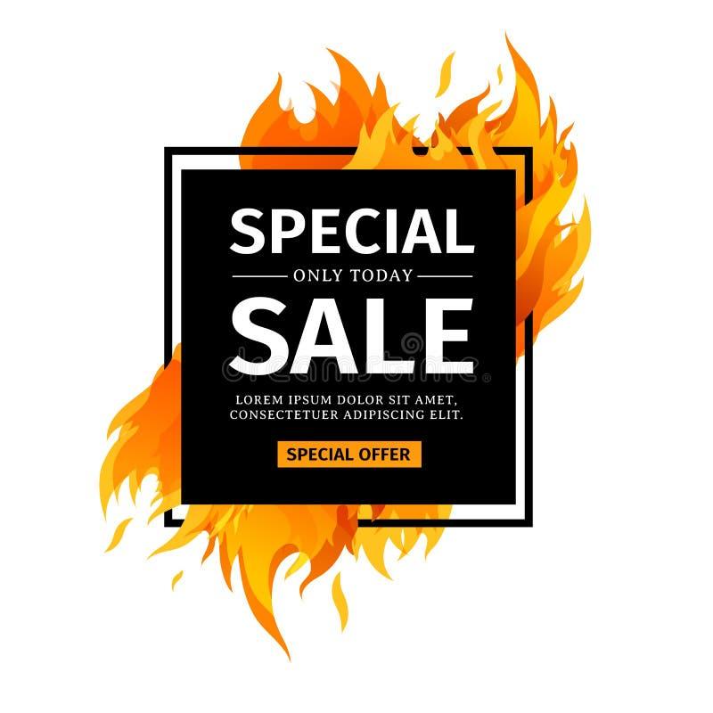 De vierkante banner van het malplaatjeontwerp met Speciale verkoop Zwarte kaart voor hete aanbieding met grafische kaderbrand Adv stock illustratie