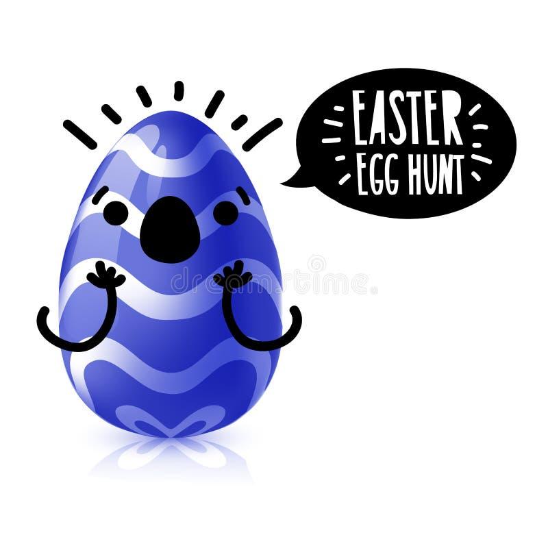 De vierkante banner van het malplaatjeontwerp voor paaseijacht Uitnodiging voor Pasen met blauw ei met emotionele emoji Vector stock illustratie