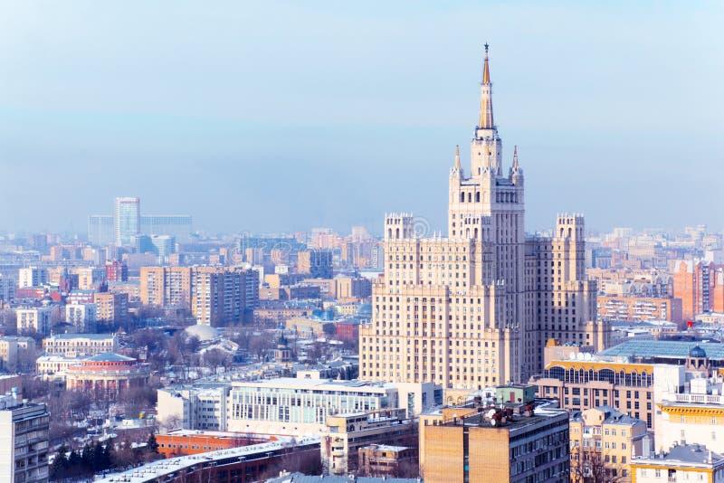 De Vierkante Bouw van Kudrinskaya in Moskou, Rusland. stock fotografie