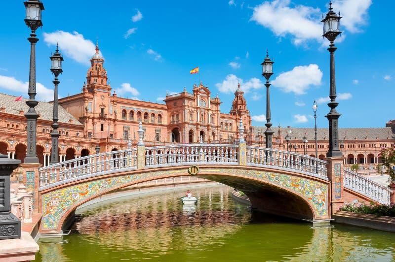 De vierkante brug van Spanje, Sevilla, Spanje royalty-vrije stock foto's