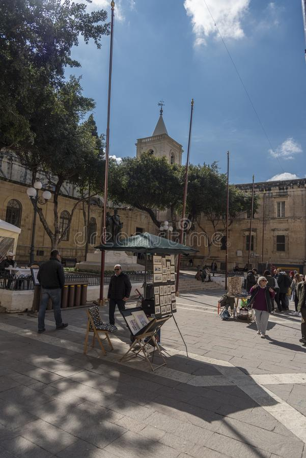 De vierkante buitenst John Co-Kathedraal Straat Valletta Malta van de Republiek royalty-vrije stock foto's