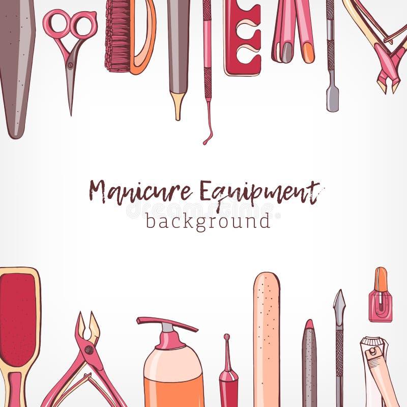 De vierkante die achtergrond met grens wordt verfraaid bestond uit manicure en pedicuremateriaal of hulpmiddelen voor nagelverzor stock illustratie