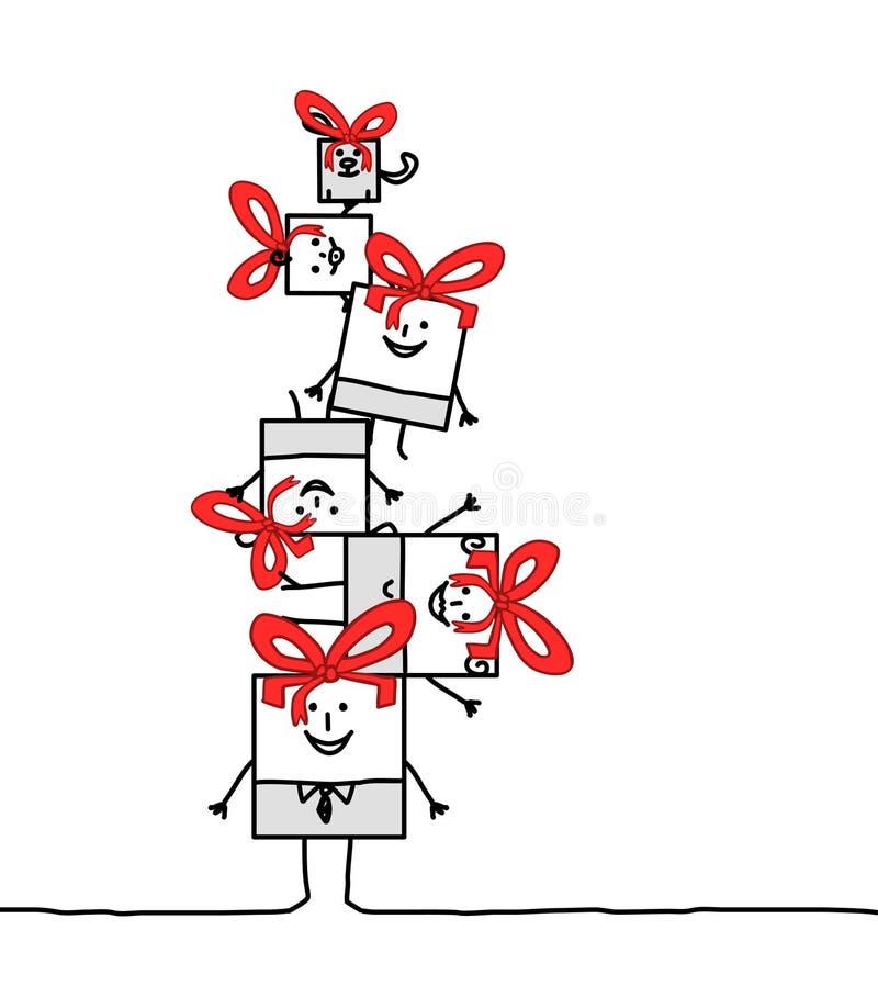 De vierkante familie van Kerstmis vector illustratie