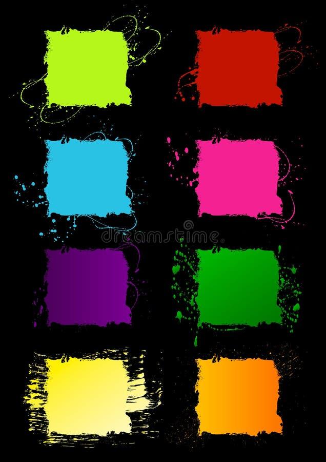 De vierkante frames van Grunge vector illustratie