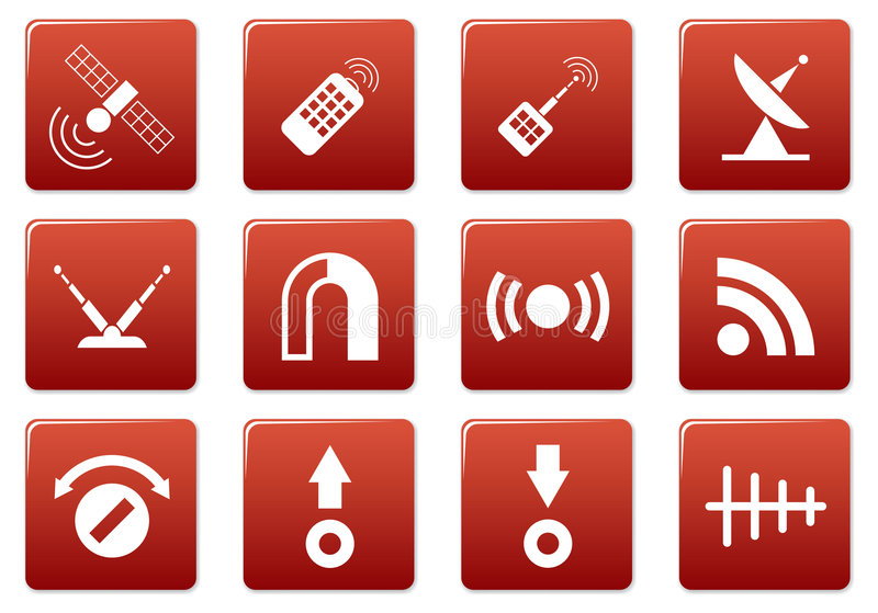 De vierkante geplaatste pictogrammen van het gadget. vector illustratie