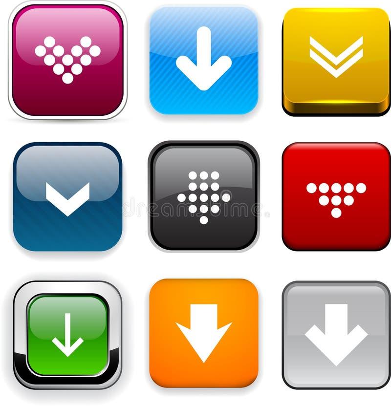 De vierkante pictogrammen van de kleurendownload. stock illustratie