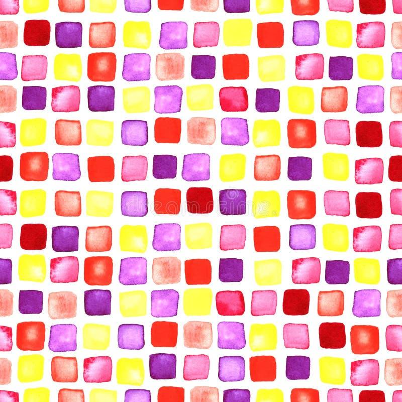 De vierkantenwaterverf vormt naadloos ornament vector illustratie