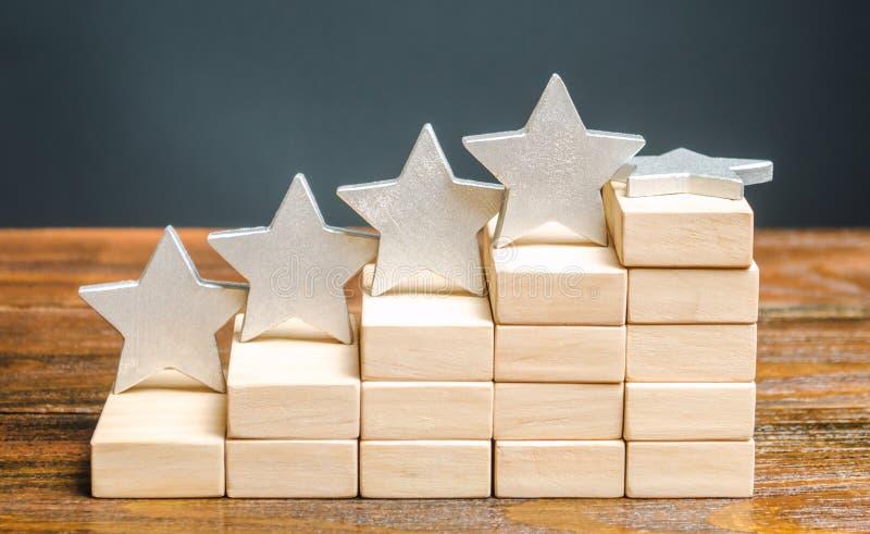 De vijfde ster en houten blokken Het begrip 'vallende rating hotel of restaurant' Verslechtering van de kwaliteit van de dienstve royalty-vrije stock fotografie