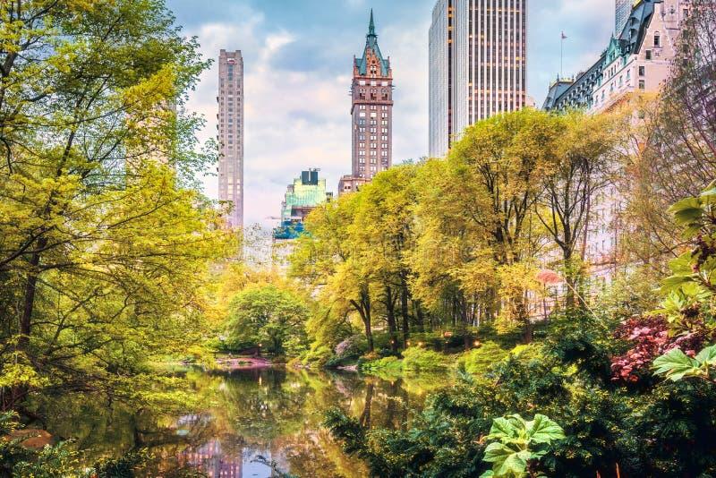 De vijver in Central Park stock afbeeldingen