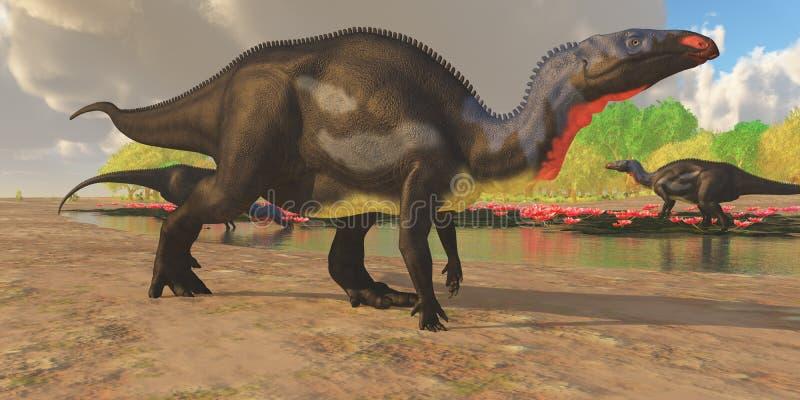 De Vijver van de Camptosaurusdinosaurus stock illustratie