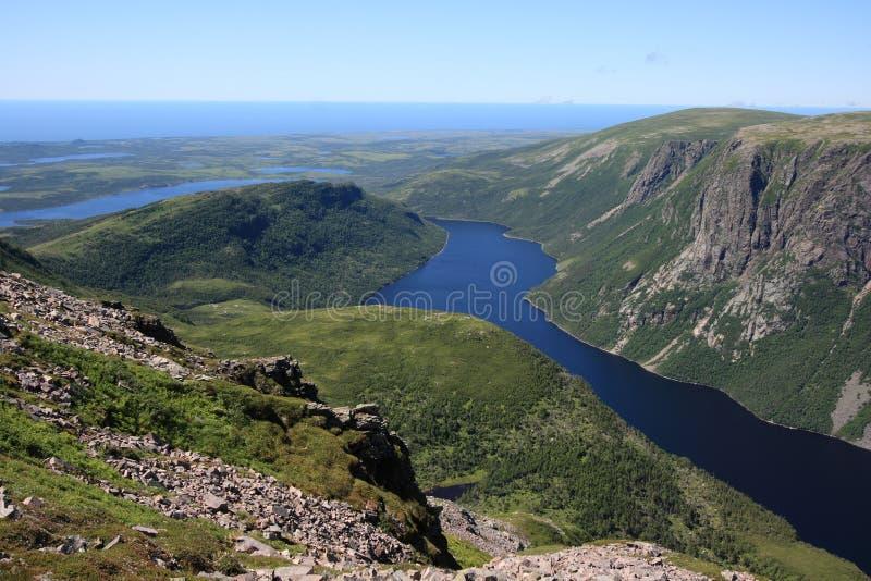 De Vijver van tien Mijl in Newfoundland stock afbeelding