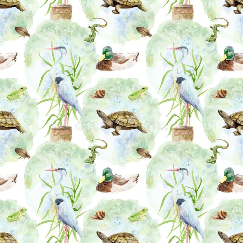 De Vijver van de waterverftekening, meer, moeras - naadloos patroon royalty-vrije illustratie