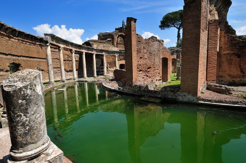 De Villa van Hadrian, Tivoli - het Maritieme Theater stock afbeelding