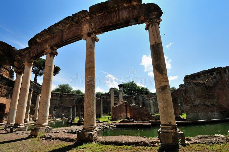 De Villa van Hadrian, Tivoli - het Maritieme Theater stock foto
