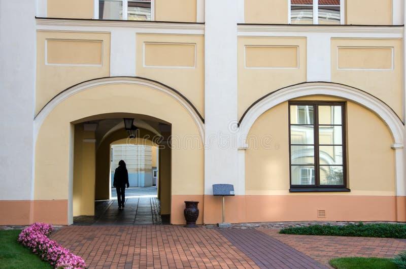 De Vilniusuniversiteit is de oudste universiteit in de Baltische staten en één van oudst in Oost-Europa royalty-vrije stock fotografie