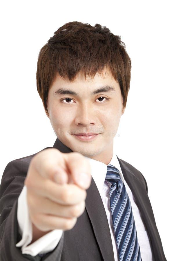De vinger die van de zakenman u richt royalty-vrije stock foto