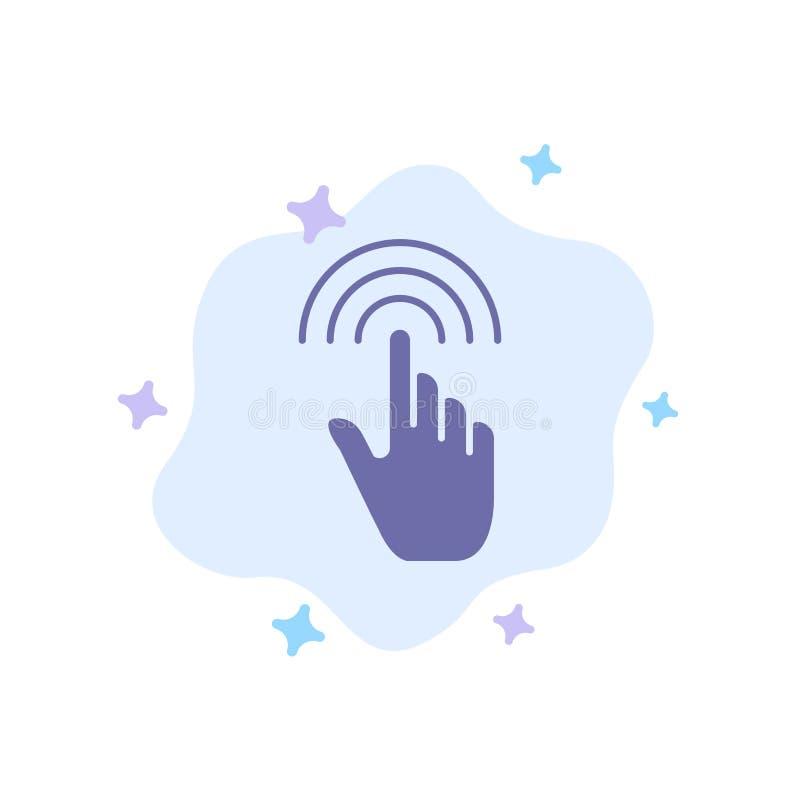 De vinger, Gebaren, Hand, Interface, onttrekt Blauw Pictogram op Abstracte Wolkenachtergrond stock illustratie