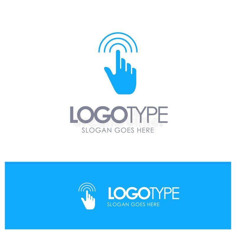 De vinger, Gebaren, Hand, Interface, onttrekt Blauw Stevig Embleem met plaats voor tagline vector illustratie