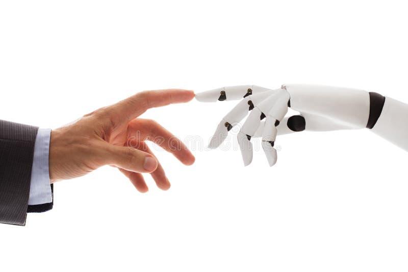 De Vinger van Businesspersonfinger touching robotic stock afbeeldingen