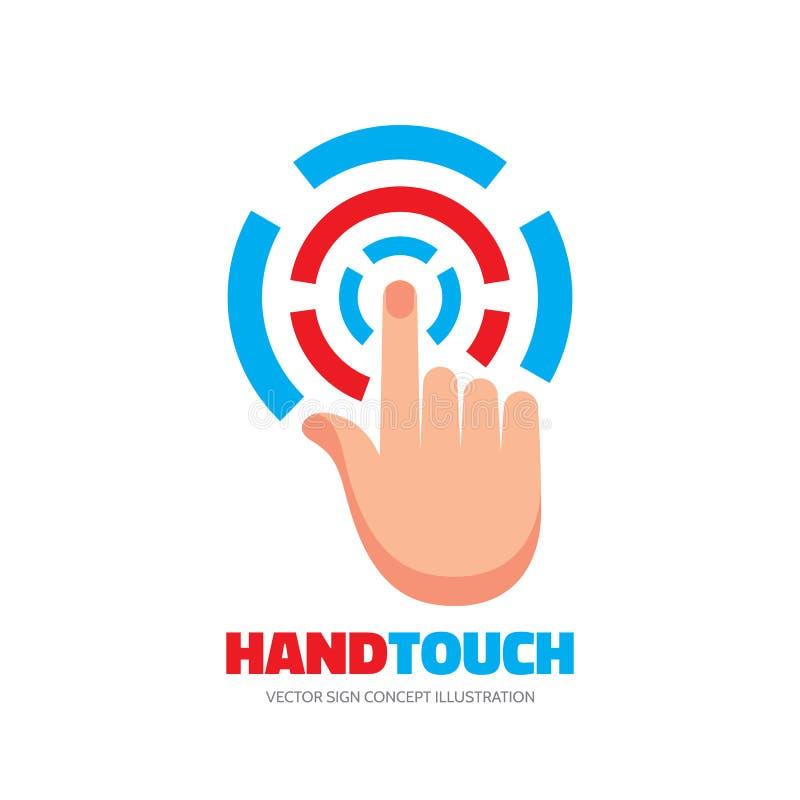 De vinger van het aanrakingsscherm - vector het conceptenillustratie van het embleemmalplaatje Menselijke hand op oppervlaktevert vector illustratie