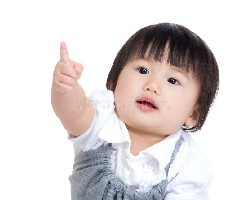 De vinger van het de babymeisje van Azië richt op royalty-vrije stock afbeelding