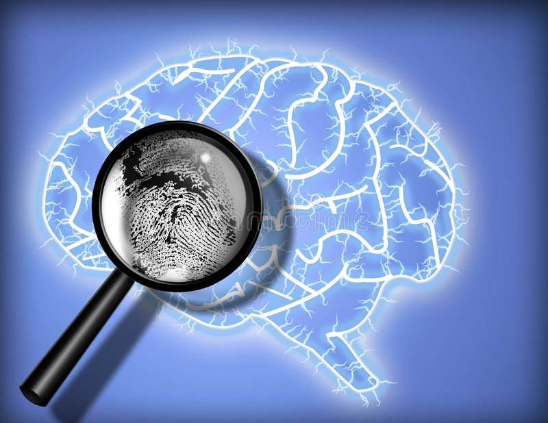 De Vingerafdruk van hersenen - Identiteit - Psychoanalyse vector illustratie