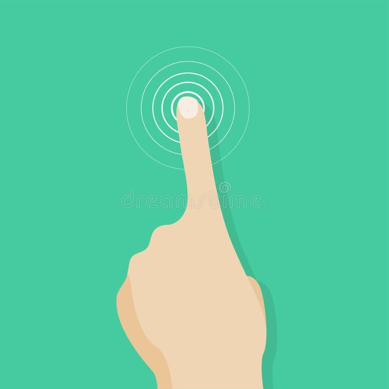De vingerpictogram van het aanrakingsscherm Vinger om het scherm te raken Menselijke hand aan aanraking van oppervlaktevertoning vector illustratie