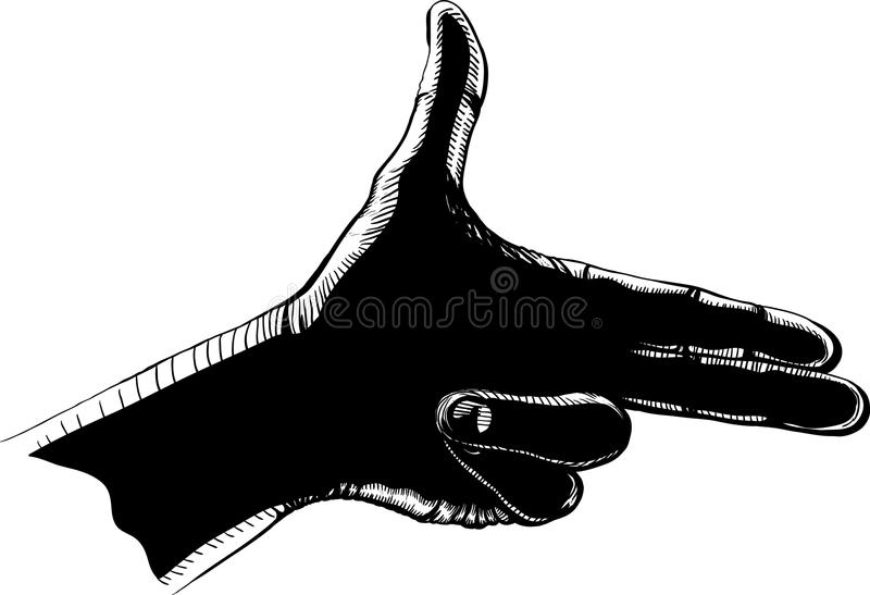 De vingers schieten zwarte stock illustratie