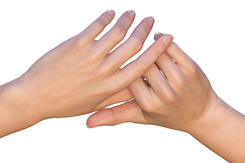 De vingers van vrouwelijke handen houden elkaar royalty-vrije stock foto